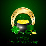 Patricks Day background with golden horseshoe and pot of gold. Patrick's Day background with green hat of leprechaun, clover, shiny horseshoe and pot of gold Royalty Free Stock Images