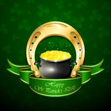 Patricks Day background with horseshoe and pot Royalty Free Stock Images