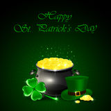 Patricks Day background with pot and gold Stock Images