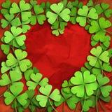 Patricks day background. Shamrock leaf clover frame heart. Patricks day background Stock Photo