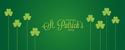 Patricks day banner. St. Patrick vintage lettering on green background Royalty Free Stock Photography