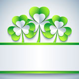 Patricks day card grey with leaf clover and paper Royalty Free Stock Image