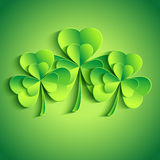 Patricks day card with stylized leaf clover Stock Image