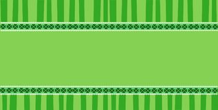 Patricks Day elegant rectangle template with clover festive lace. Saint Patricks Day elegant rectangle template with clover festive lace and copy space on green Stock Photos