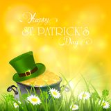Patricks Day and green hat with gold of leprechaun in grass on y Royalty Free Stock Image