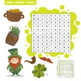 Patricks Day holiday themed word search puzzle - Answer included. Vector royalty free illustration