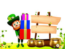 Patricks day leprechaun with golden pot and sign Royalty Free Stock Images