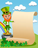 Patricks Day Leprechaun Presenting Old Parchment Stock Image