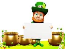 Patricks day leprechaun showing sign Stock Images