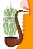 Patricks Day. Leprechaun smokes pipe. Red beard. Open your mouth Royalty Free Stock Images