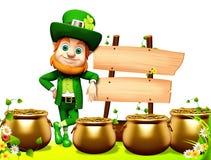 Patricks day leprechaun standing near sign Royalty Free Stock Photos