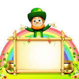 Patricks day leprechaun stands near big sign Stock Image