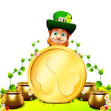 Patricks day leprechaun stands near golden coin Royalty Free Stock Photo