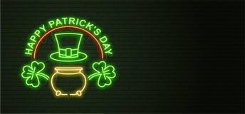 Patricks Day Neon sign and green brick wall. Realistic sign. Nat. Ional holiday symbol in Ireland. Irish Shamrock. Leprechaun Pot of gold. horizontal Template Royalty Free Stock Image