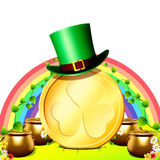 Patricks day rainbow background with cap Stock Image