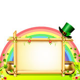 Patricks day rainbow background with golden coins Stock Photo