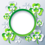Patricks day round frame with 3d leaf clover. Beautiful trendy round frame with grey and green 3d leaf clover. Stylish greeting or invitation card with stylized Stock Photography