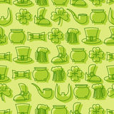 Patricks day seamless pattern. Background for Irish holiday.  Stock Image