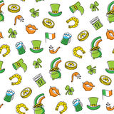 Patricks Day Seamless Pattern. Hand drawing seamless pattern for Happy St. Patrick`s Day Royalty Free Stock Images