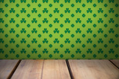 Patricks day wallpaper above table Stock Images