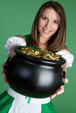Patricks Day Woman. Saint patricks day coins woman Stock Photos