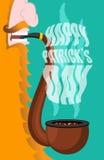 Patricks dzień Leprechaun dymi drymbę Dymić ustalonego brier ilustracji