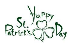 Patricksdag het uitstekende met de hand geschreven van letters voorzien Gelukwensen aan de St Patricks Dag Stock Foto's