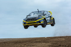 Patrik Sandell rally driver jumps. San Pedro, CA - September 20, 2014:Patrik Sandell rally driver jumps at the Red Bull GRC Global Rallycross at the Port of Los Stock Photography