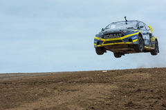 Patrik Sandell rally driver jumps Stock Image