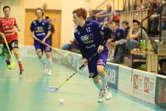 Patrik Suchanek in floorball. Patrik Suchanek from WOOW Vitkovice in czech floorball league match between top czech teams Tatran Omlux Stresovice and 1. SC WOOW Stock Photos