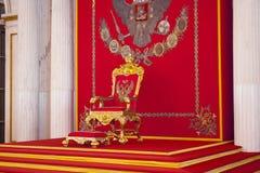 Patrimoine de Kuskovo Le palais d'hiver Trône Hall Le trône principal St Petersburg Russie Photos libres de droits