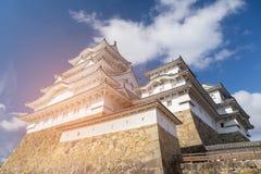 Patrimoine mondial de château de Himeji sur le fond de ciel bleu Image libre de droits
