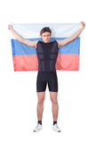 Patriot athlete with the Russian flag. Royalty Free Stock Image
