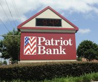 Patriot Banking Center Sign Stock Photos