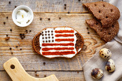 Patriot breakfast - sandwich with image of american flag Royalty Free Stock Photo