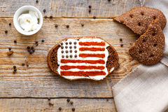 Patriot breakfast - sandwich with image of american flag Royalty Free Stock Images