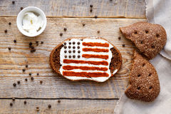 Patriot breakfast - sandwich with image of american flag Stock Photo