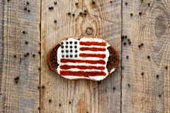 Patriot breakfast - single sandwich with image of american flag Royalty Free Stock Images