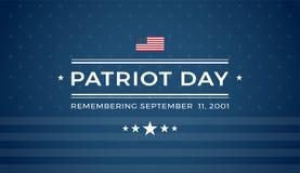 Patriot Dag 9/11 blauwe achtergrond die 11 September 2001 herinneren - vector illustratie