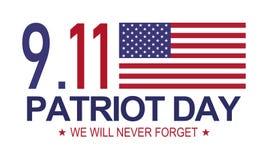 Patriot Dag 9 11 Memorial Day, zullen wij nooit vergeten Witte achtergrond Vector Illustratie