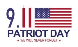 Patriot Dag 9 11 Memorial Day, zullen wij nooit vergeten Witte achtergrond royalty-vrije illustratie