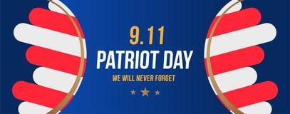 Patriot Dag 11 September 2001 zullen wij nooit vergeten Affichemalplaatje met typografie en de Vlag van de V.S. Banner voor de da royalty-vrije illustratie