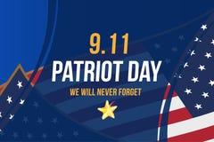 Patriot Dag 11 September 2001 zullen wij nooit vergeten Affichemalplaatje met typografie en de Vlag van de V.S. Banner voor de da vector illustratie