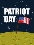 Patriot day. American flag on moon surface. Flag USA on yellow p. Lanet in space. American astronauts first landed on  moon. Vector illustration for  national Royalty Free Stock Image
