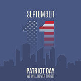 Patriot Day background with abstract city skyline. 11 September, National Day of Remembrance. Vector illustration vector illustration