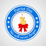 Patriot Day background. Illustration of badge with candles vector illustration