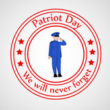 Patriot Day background. Illustration of badge with soldier vector illustration