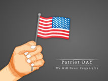 Patriot Day background. Illustration of hand with U.S.A Flag royalty free illustration