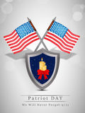 Patriot Day background. Illustration of shield with candles ad U.S.A flags stock illustration