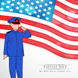Patriot Day background. Illustration of soldier with U.S.A Flag Royalty Free Stock Photos